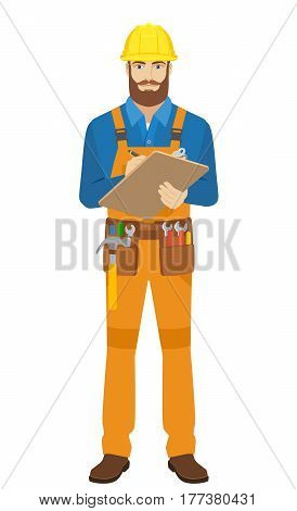 Worker writes on the clipboard closeup. Full length portrait of worker in a flat style. Vector illustration.