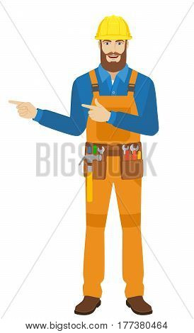Two index fingers pointing. Worker showing somewhere. Full length portrait of worker in a flat style. Vector illustration.