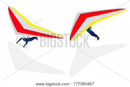 Isometric Hang glider soaring the thermal updrafts suspended on a harness below the wing, isolated on white