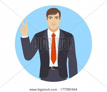 Victory! Businessman showing victory sign. Two fingers up. Portrait of businessman in a flat style. Vector illustration.