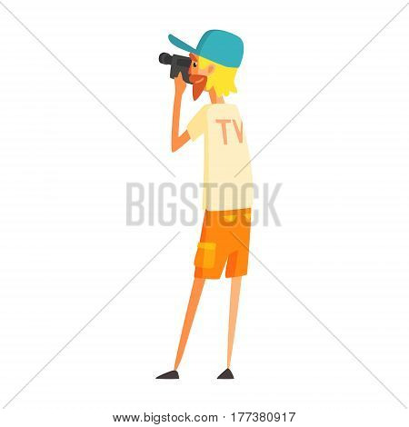 Videographer Journalist Shooting Video, Official Press Reporter Working, Collecting Information And Making News, Part Of Journalism Set Of Illustrations. Cartoon Character Doing Journalistic Job For Magazine Or Television.