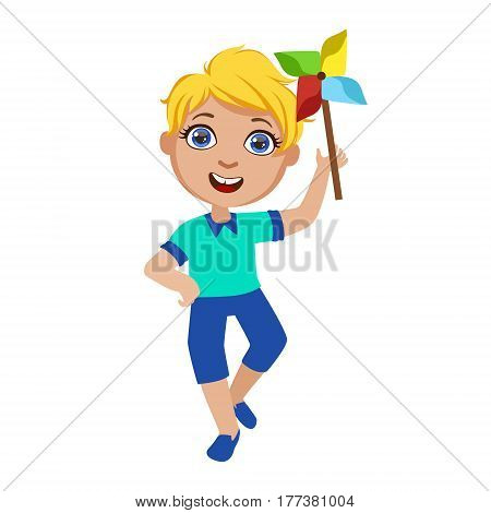 Boy With Toy Windmill, Part Of Kids At The Birthday Party Set Of Cute Cartoon Characters With Celebration Attributes. Adorable Child Celebrating And Partying , Vector Illustration Isolated On White Background.