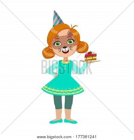 Girl In Cat Mask With Cake Piece, Part Of Kids At The Birthday Party Set Of Cute Cartoon Characters With Celebration Attributes. Adorable Child Celebrating And Partying , Vector Illustration Isolated On White Background.
