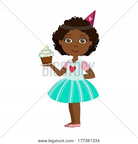 Girl With Cupcake, Part Of Kids At The Birthday Party Set Of Cute Cartoon Characters With Celebration Attributes. Adorable Child Celebrating And Partying , Vector Illustration Isolated On White Background.