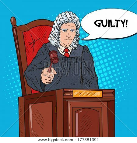 Pop Art Senior Judge in Courthouse Striking the Gavel. Law and Judical System. Vector illustration
