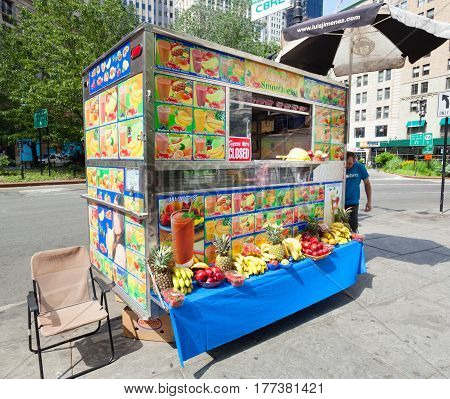 Kiosk Of Fruit Drinks In Manhattan