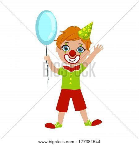 Boy In Clown Costume, Part Of Kids At The Birthday Party Set Of Cute Cartoon Characters With Celebration Attributes. Adorable Child Celebrating And Partying , Vector Illustration Isolated On White Background.
