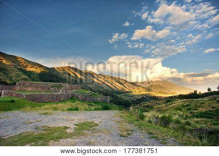 Sunset in the Puca Pucara Inca ruins at Secret Valey Cuzco Peru