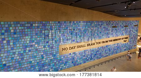 Wall In The National September 11 Memorial Museum, Nyc.