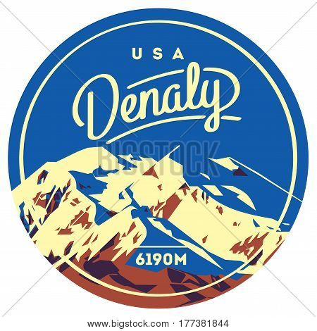 Denali in Alaska Range, North America, USA outdoor adventure badge. McKinley higest mountain. Climbing, trekking, hiking, mountaineering and other extreme activities logo template.