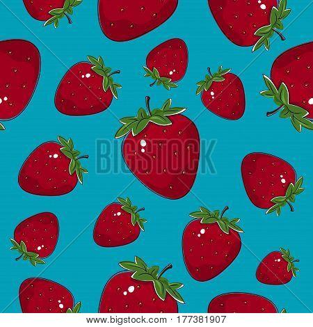 Seamless Pattern of Strawberry, Fruit Berry Pattern on Azure Background ,Vector Illustration