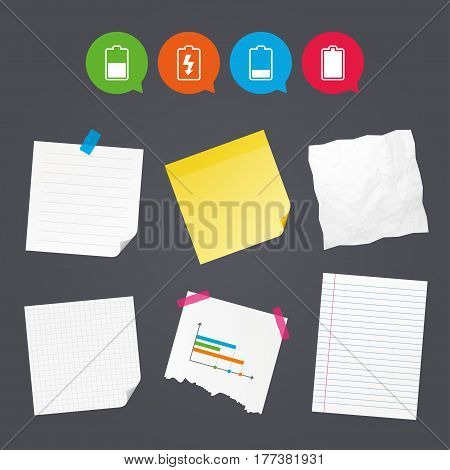 Business paper banners with notes. Battery charging icons. Electricity signs symbols. Charge levels: full, half and low. Sticky colorful tape. Speech bubbles with icons. Vector