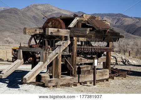 Abandoned mining equipment in the California wilderness