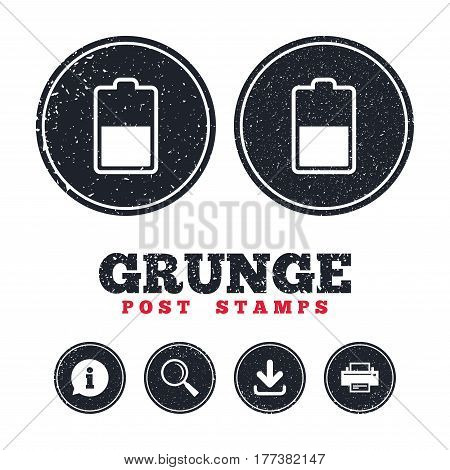 Grunge post stamps. Battery half level sign icon. Low electricity symbol. Information, download and printer signs. Aged texture web buttons. Vector