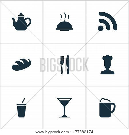 Vector Illustration Set Of Simple Cafe Icons. Elements Wineglass, Gastronomy, Fork With Knife And Other Synonyms Alcohol, Tray And Laying.