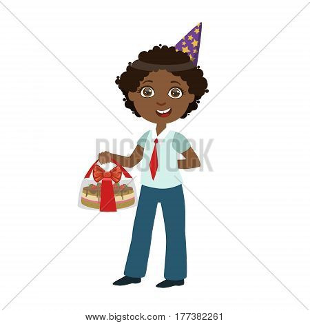 Boy With Cake In Box, Part Of Kids At The Birthday Party Set Of Cute Cartoon Characters With Celebration Attributes. Adorable Child Celebrating And Partying , Vector Illustration Isolated On White Background.