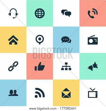 Vector Illustration Set Of Simple Communication Icons. Elements Pin, Thumb, Link And Other Synonyms Office, Vote And Partnership.