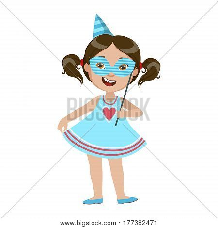 Girl With Paper Mask, Part Of Kids At The Birthday Party Set Of Cute Cartoon Characters With Celebration Attributes. Adorable Child Celebrating And Partying , Vector Illustration Isolated On White Background.