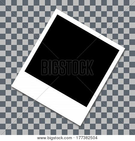 Photo Frame With Shadow. White Plastic Border. Transparent Checkerboard Background. 30 Degree Angle.