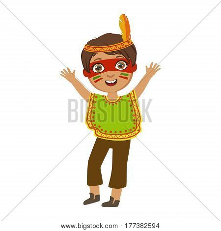 Boy In Indian Costume, Part Of Kids At The Birthday Party Set Of Cute Cartoon Characters With Celebration Attributes. Adorable Child Celebrating And Partying , Vector Illustration Isolated On White Background.