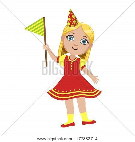 Girl In Red Dress With Flag, Part Of Kids At The Birthday Party Set Of Cute Cartoon Characters With Celebration Attributes. Adorable Child Celebrating And Partying , Vector Illustration Isolated On White Background.