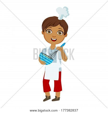 Boy Mixing Sauce In Bowl With Whip, Cute Kid In Chief Toque Hat Cooking Food Vector Illustration. Young Child Wanting To Become A Cook In Cooking Class Smiling Cartoon Character.