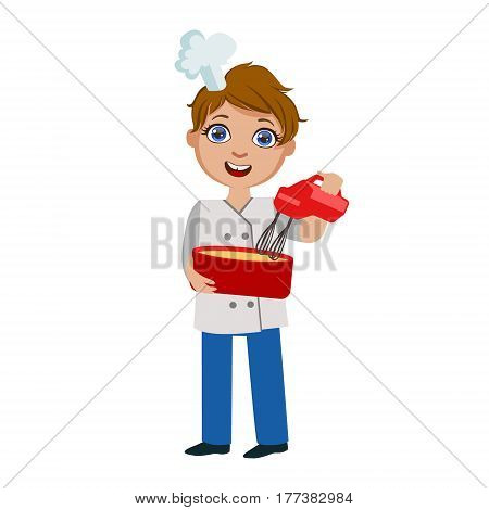 Boy Mixing Dough With Electric Mixer, Cute Kid In Chief Toque Hat Cooking Food Vector Illustration. Young Child Wanting To Become A Cook In Cooking Class Smiling Cartoon Character.