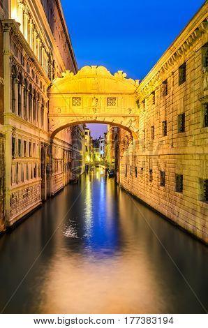 Venice Italy. Bridge of Sighs (italian Ponte dei Sospiri) in Venezia illuminated in the night. Italian landmark.