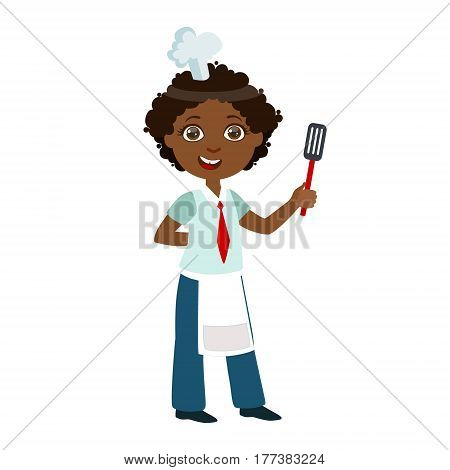Boy With Spatula, Cute Kid In Chief Toque Hat Cooking Food Vector Illustration. Young Child Wanting To Become A Cook In Cooking Class Smiling Cartoon Character.