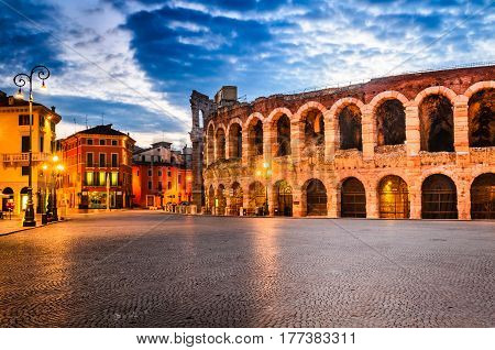 The amphitheatre completed in 30AD the third largest in the world at dusk time. Piazza Bra and Roman Arena in Verona Italy