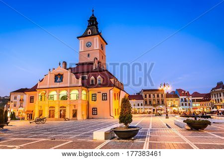 Brasov Romania - Medieval Council House in Main Square main touristic attraction of Transylvania.