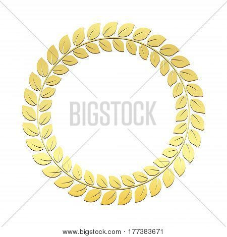 Gold Laurel Wreath. Award for winners. Honoring champions. Trophy for challenge. Symbol of victory and achievements. Vector illustration. Design element for posters decoration.