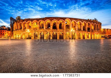 Verona amphitheatre completed in 30AD the third largest in the world at dusk time. Roman Arena in Verona Italy
