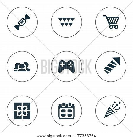 Vector Illustration Set Of Simple Holiday Icons. Elements Store Cart, Caramel, Days And Other Synonyms Decorations, Shopping And Caramel.