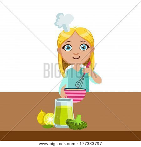 Girl Mixing In Bowl With Whip, Cute Kid In Chief Toque Hat Cooking Food Vector Illustration. Young Child Wanting To Become A Cook In Cooking Class Smiling Cartoon Character.