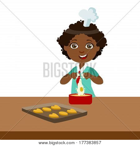 Boy Making Dough For Cookies, Cute Kid In Chief Toque Hat Cooking Food Vector Illustration. Young Child Wanting To Become A Cook In Cooking Class Smiling Cartoon Character.