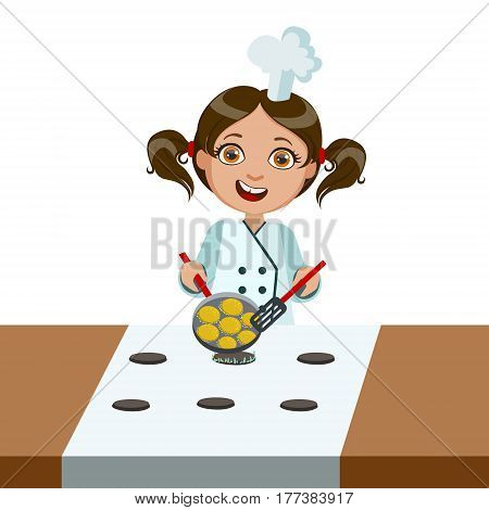 Girl Frying Nuggets On Electric Stove, Cute Kid In Chief Toque Hat Cooking Food Vector Illustration. Young Child Wanting To Become A Cook In Cooking Class Smiling Cartoon Character.