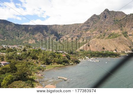 The village of San Juan la laguna on lake Atitlan Guatemala la laguna on lake Atitlan Guatemala