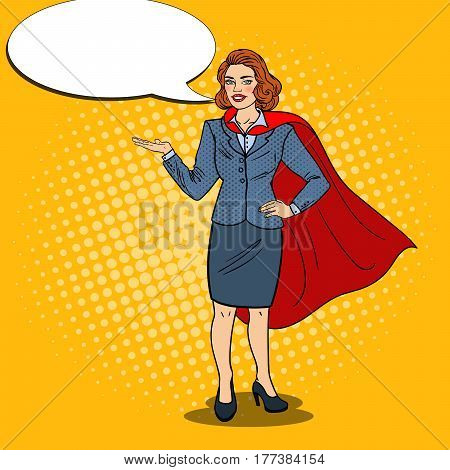 Pop Art Happy Super Business Woman in Red Cape Pointing on Copy Space. Presentation. Vector illustration