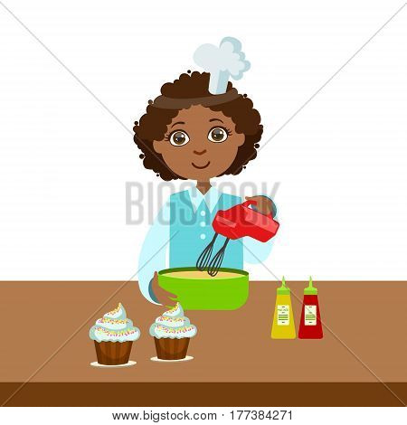 Boy Using Mixer In Bowl, Cute Kid In Chief Toque Hat Cooking Food Vector Illustration. Young Child Wanting To Become A Cook In Cooking Class Smiling Cartoon Character.