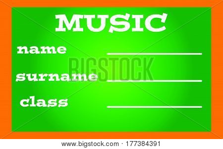 Label book music on green background.Vector illustration.