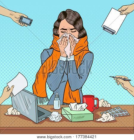Pop Art Business Woman Sneezing at Multi Tasking Office Work. Vector illustration