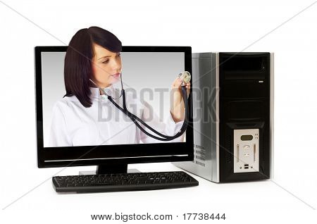 Arzt von Computer-Bildschirm - Healthcare oder Computer Security-Konzept