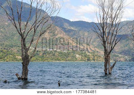 The village of San Pablo la laguna on lake Atitlan Guatemala la laguna on lake Atitlan Guatemala