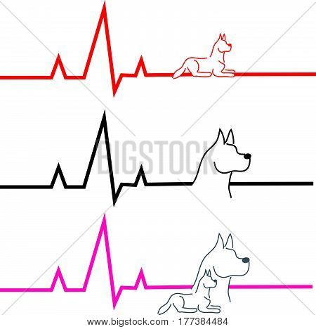 ECG with dog on white background. Vector illustration.