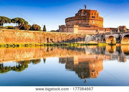 Rome Italy. Bridge and Castel Sant Angelo and Tiber River. Built by Hadrian emperor as mausoleum in 123AD ancient Roman Empire landmark.