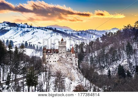 Bran Castle Romania. Stunning HDR twilight image of Dracula fortress in Transylvania medieval landmark.