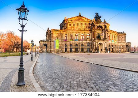 Dresden Saxony. Opera house of Dresda on a sunny day with blue sky. Germany landmark.