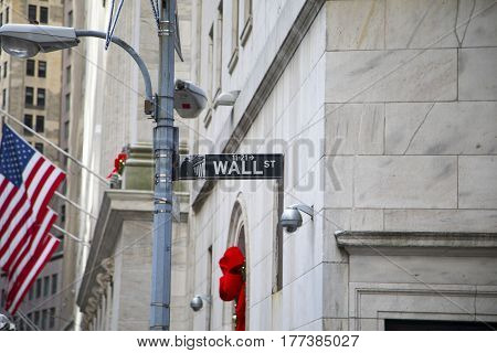 New York City, USA, December 31 2016: Wall street sign located on Manhattan Island, New York City, USA