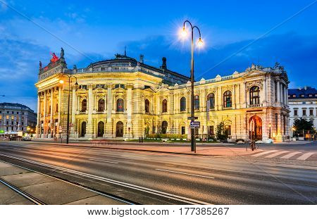 Vienna Austria. The Burgtheater (Imperial Court Theater) is the Austrian National Theatre and one of the most important German language theatres in the world.